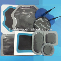 Tire repair rubber patch and plug combi
