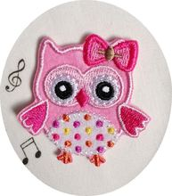 Feng Xi cloth embroidered cloth patch stickers affixed clothes patch affixed pink owl A0130301