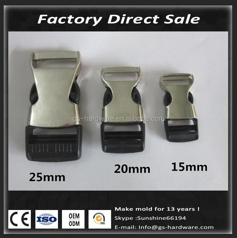 Half Plastic Metal Side Release Buckle For Dog/cat Pet Collar,Luggage Accessories,15MM/20MM/25MM QW003