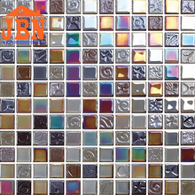 colorfull rainbow color design 4mm thickness crystal glass mosaic tile
