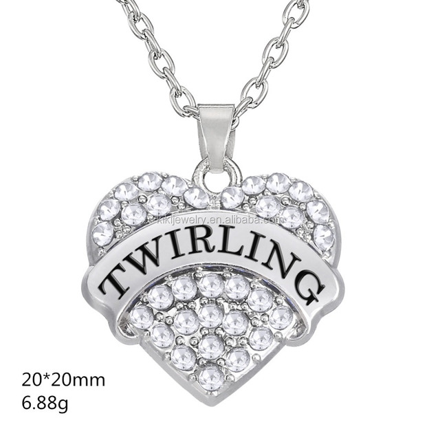 Yiwu Wholesale Sports Zinc Alloy Silver Crystal Engraved Twirling Heart Charm Necklace