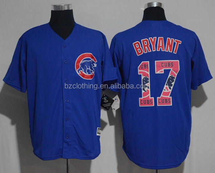 Chicago Cubs Kris Bryant #17 Blue Fashion American Baseball Jersey