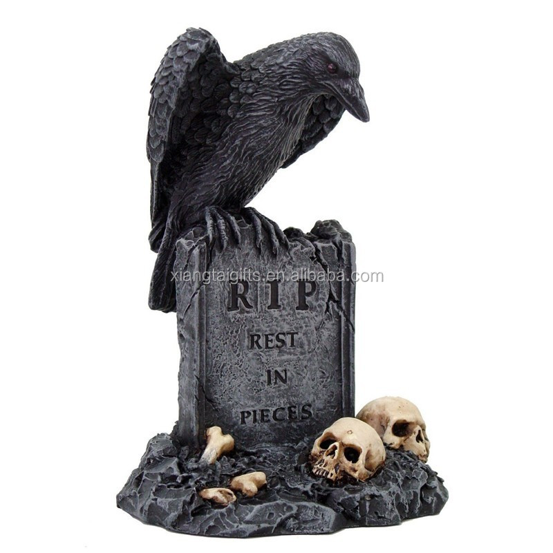 Black Raven Bird on Skull Mound Tombstone Collectible Statue Figurine