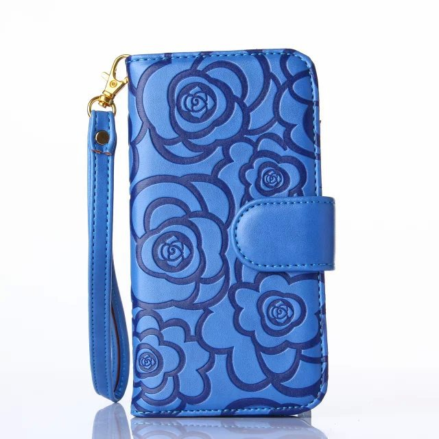 With Strap Wallet Case For Samsung Galaxy Note 4 / Note 5 Leather Flip With Card Slot & Flower Skins Cover