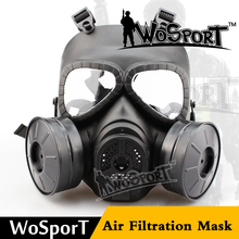 Cosplay full face air filtration tactical CS gas mask helmet with two fans
