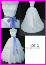 2014 guangzhou puffy real corset back lace ball wedding gowns/bridal dress with blue ribbon sash/belt L0013