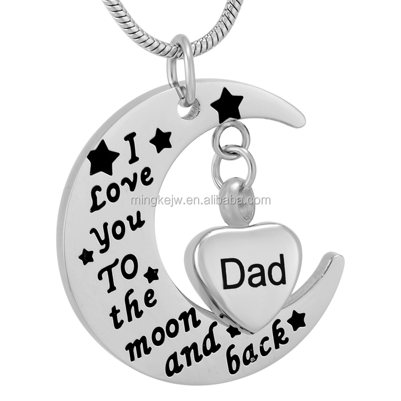 IJD9737 Engraving Dad Heart Urn Charm&I love you to the moon and back Stainess steel memorial cremation jewelry