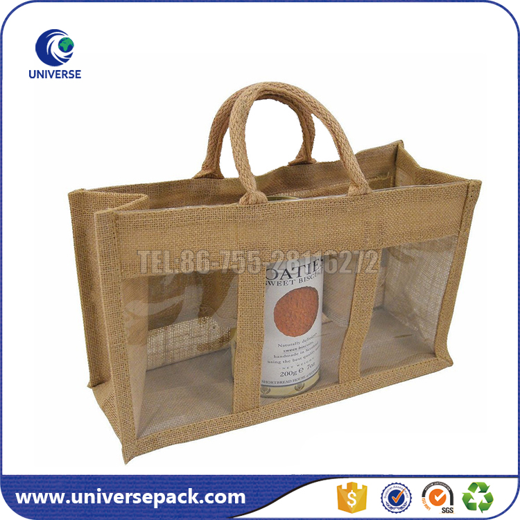 Customized jute tote 3 bottle wine bag with transparent pvc window