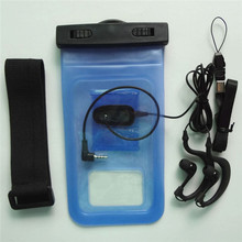 Factory price clear blue pvc promoting waterproof pouch for kaxa motos with headphone jack