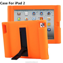 Flexible Soft Silicon Cute Holster EVA Safety Case Shockproof Drop Protected Non Slip Protective Stand Case For iPad 2