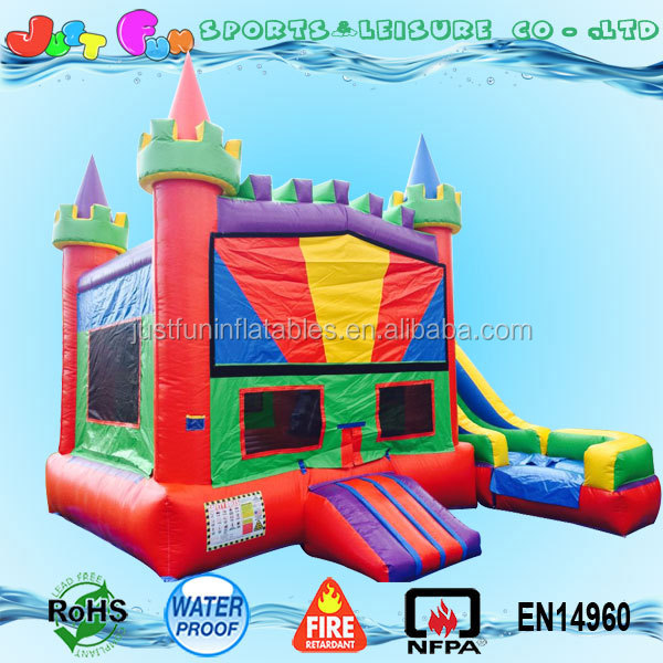 cheap modular colorful castle commercial bounce houses with slide combo for sale