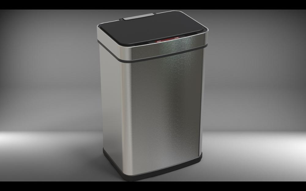 brushed stainless steel black smart dustbin