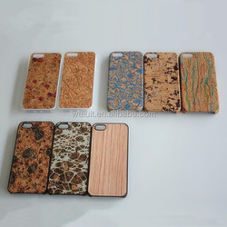 Top Quality Slim PC & Wood for Apple iPhone 6 cover, Slim Cork Leather Phone Cover