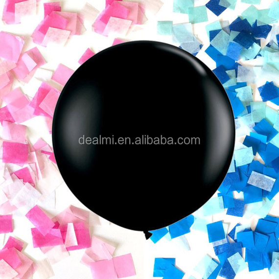 "Black Giant Balloon 36"" Pink and Blue Gender Reveal Balloon"
