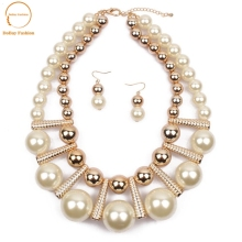 multilayer latest design beads necklace earrings jewelry set