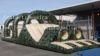 Military camouflage inflatable Obstacle Course 45' for sale