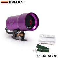 EPMAN 37mm Smoke Tach RPM Tachometer Red Digital Shift Light Style Gauge Meter Pod Purple EP-DGT8105P