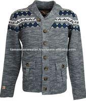 Men's Jacquard Knitted Cardigan