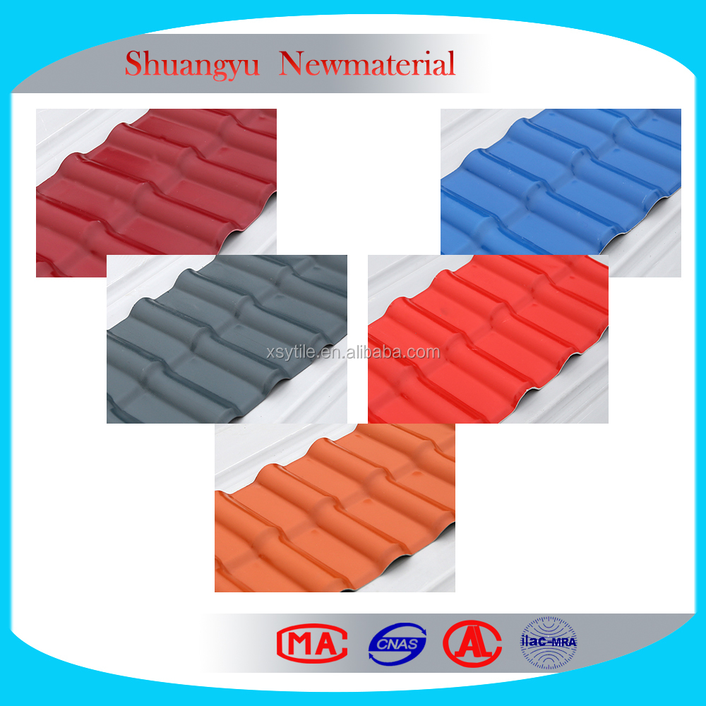 Lasting colors roof tile, Lightweight Roofing Material Red Plastic Roof Shingles
