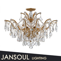 Crown decoration golden lamp crystal tip pendant light from China supplier chandelier