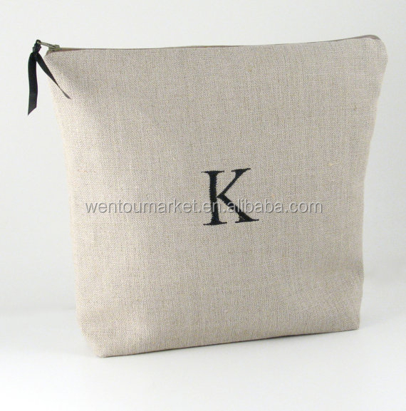 Personalized Linen Travel Lingerie Bag