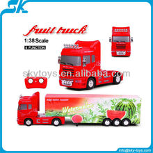 !new design - 1:38 plastic rc heavy fruit truck - child toy rc semi truck