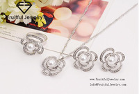 Jewelry Sets Flower and Pearl Necklace Sweet Dangle Earrings and ring Nice Gift for Girls and lady.