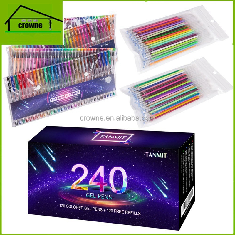 240 Color Gel Pens Set for Adult Coloring Books, Writing, Kid Drawing 120 Unique Colored Gel Pen + 120 Ink Refills Environmental