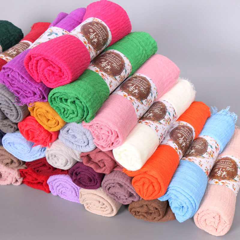 Good quality 45 colors plain cotton women crepe hijab muslim <strong>scarf</strong> wholesale