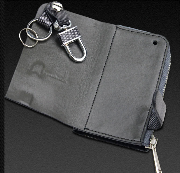 Luxury Men Zip Car Key Holder Pouch Multifunction Real Cowhide Key Ring Bag With Key Hanger