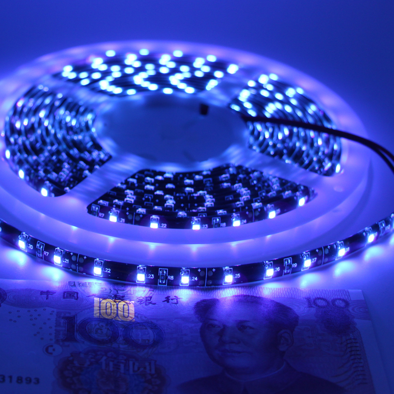 black tape DC 12V UV 5050 SMD ip65/non waterproof Ultraviolet UV 395-405nm Purple Led Flexible UV Light