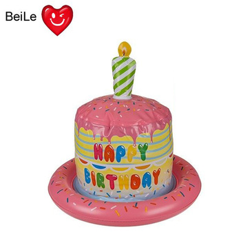 Inflatable happy birthday cake hat with party candle
