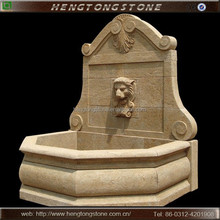 Outdoor Stone Wall Water Fountain with Lion Head Carving