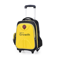 Trolley New style hot selling polyester yellow trolley school backpack on wheels