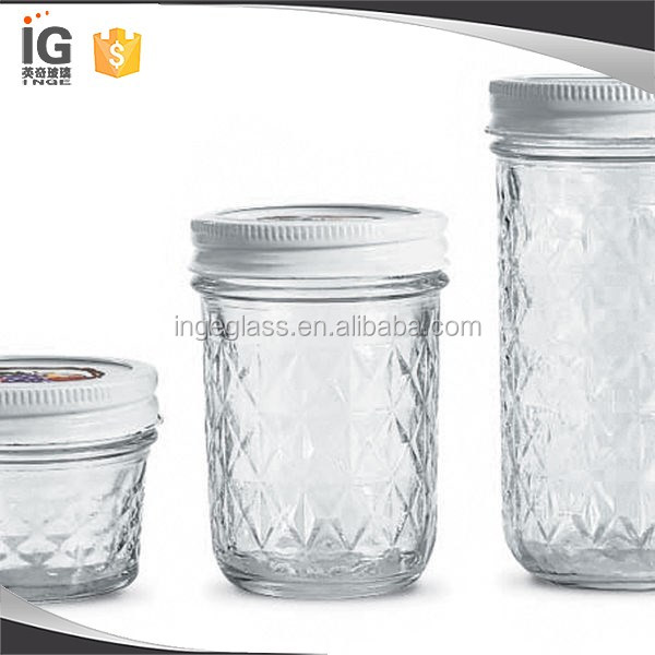 4oz 8oz 12 oz 16oz mason jar drinking glass jar with lid