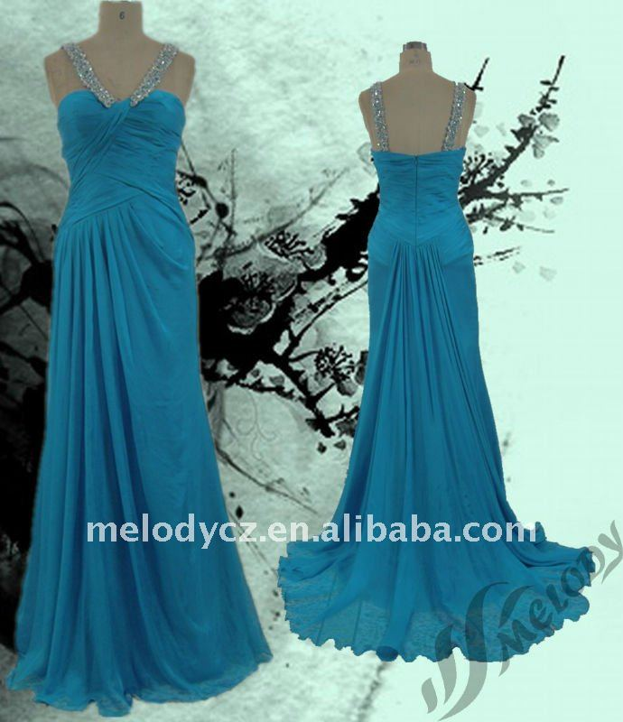 Silk chiffon beading simple giant swing sexy evening dress gown spandex