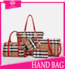 Top! Selling Best plaid 6pcs set bag fashion red 100% genuine leather deisgner lady high quality women handbag made in China