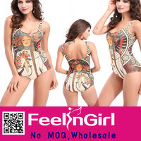 Wholesale Retro Girl Pattern Pretty Cheap One Piece Swimsuit
