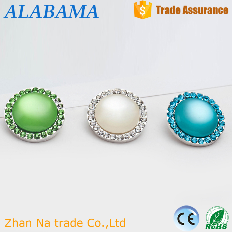 DIY wholesale hot selling alloy metal ginger big pearl crystal round snaps