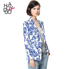 HAODUOYI Women Chinese Blue White Porcelain Printed One Button Suits