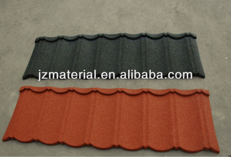 hot selling nigeria colorful stone coated metal roofing tile / metal corrugated tile roofing/Stone Chip Coated Metal Roof Tile