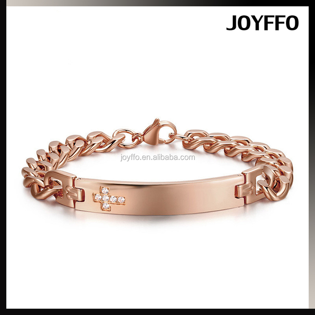 Fashion White Cz Rose Gold Titanium Steel Couple Cuban Cube Link Chain Bracelet Gift