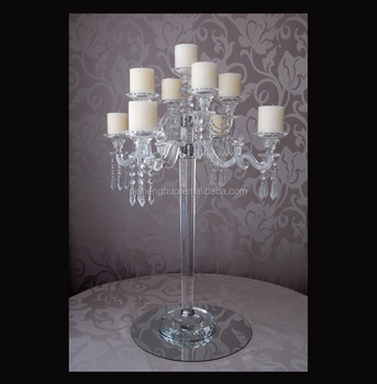 2017 new tall glass candelabra for wedding table centerpiece decorations