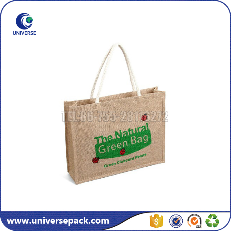 Bulk reusable eco friendly jute shopping bags with cotton handle