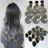 ombre Grey/Gray Brazilian Virgin Hair Body Wave Bundles grey Hair Weft Extension