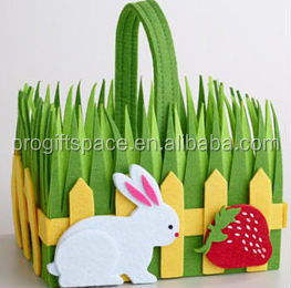 hot sale hight quality new product promotion holiday gift handicraft felt handmade easter wicker basket for easter