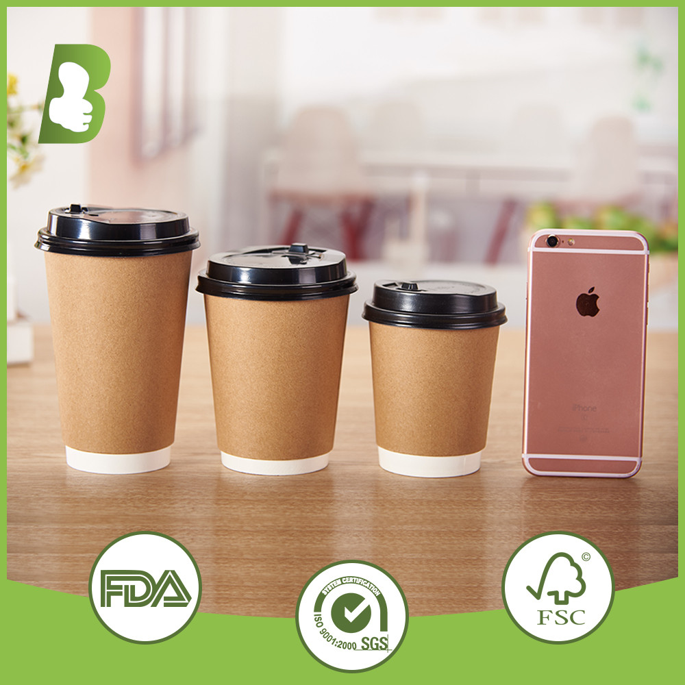 Custom Logo Printed Disposable Double Wall Paper Cups