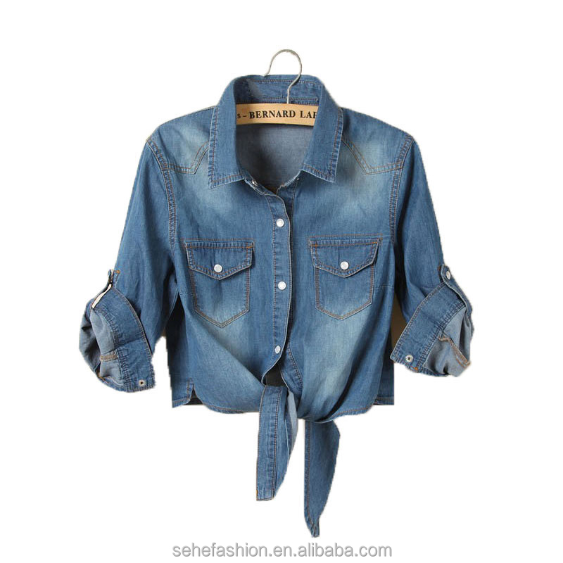 new design fashion long sleeve denim jacket women wholesale