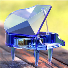 Blue Crystal Glass Grand Piano For Crystal Wedding Favors