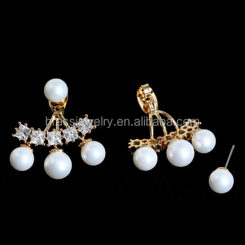 Cheap Wholesale 24k Gold Plated Cubic Zircon Pave Pearl Beads Ladies Earring Jackets